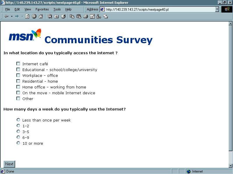 MSN Survey